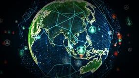 Digitale Wereldnetwerken van Mensenkleur royalty-vrije illustratie