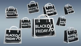 Digitale Wiedergabe der Ikonen 3D Black Friday-Verkäufe Stockbilder