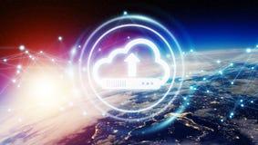Digitale wolk over aarde het 3D teruggeven Stock Afbeeldingen