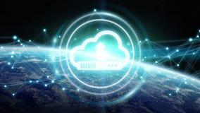 Digitale wolk over aarde het 3D teruggeven Stock Fotografie