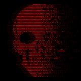 Digitale Zahl der Logiks null und eine des roten Schädels für Virussicherheitszusammenfassungs-Vektordesign Stockfotos