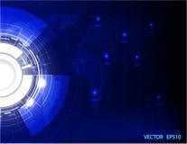 Digitale zaken backrgound Vectortechnologie-cirkel en technologieachtergrond De illustratie van de Woldkaart Stock Foto's