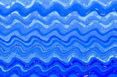 Digitaler Kunsthintergrund der blauen Wellenaquarellfarbe Stockfotos