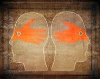 Digitales Illustrationskonzept der Missverständnisse mit slhouette Lizenzfreie Stockbilder