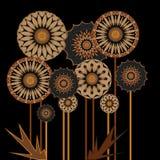 Digitales Kunstdesign der hölzernen Blumen vektor abbildung