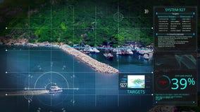 Digitales Sicherheitsbrummen der Animation, Kamera oder Hologrammscannentechnologieverschluß auf der Inselküstenstadt, zum des Te lizenzfreie abbildung