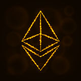 Digitales Währungsschattenbild Ethereum von Lichtern Lizenzfreie Stockfotografie