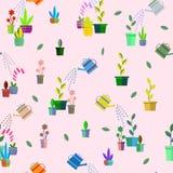 Digitali, fiori, sole, piante nel modello senza cuciture dei vasi illustrazione di stock