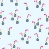 Digitalisbloemen in potten naadloos patroon vector illustratie