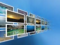 Digitalisierte Bilder auf dem virtuellen Bildschirm Stockfotografie