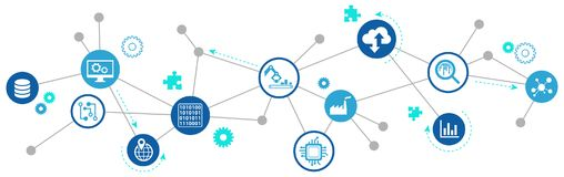 Digitalization concept: Enterprise internet of things / smart factory illustration. Abstract concept in blue/grey color with various icons showing challenges royalty free illustration