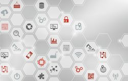 Digitalization concept: enterprise IoT, smart factory, industry 4.0 - illustration. Abstract concept in grey and red with various icons showing challenges, tools vector illustration
