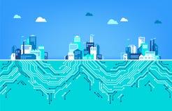 Digitalization concept / IOT / digital transformation - illustration vector illustration