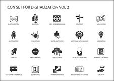 Digitalization icon  set for topics like big data, business models, 3D printing, disruption, artificial intelligence, intern. Et of things Stock Images