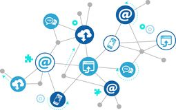 Digitalization and mobile communication concept – illustration. Illustration of connected icons, symbolising mobile communication, cloud technology and royalty free illustration