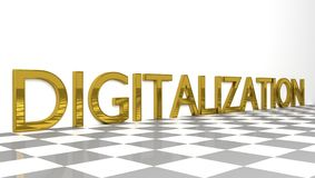 Digitalization sign in gold and glossy letters