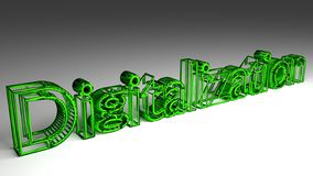 Digitalization sign in green and glossy letters