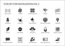 Digitalizationsymbolsuppsättningen för ämnen gillar stora data, affärsmodeller, 3D printing, söndring, konstgjord intelligens, al Arkivbilder