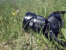 Digitalkamera auf Gras Lizenzfreie Stockfotos