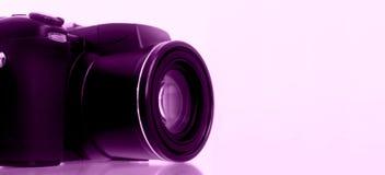 Digitalkamera mit Trauben-Hintergrund Stockbilder