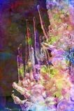 Digitally altered close-up of colorful jewel-like icicles Stock Photo