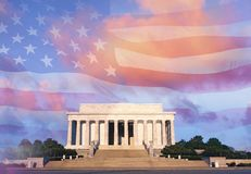 Digitally altered composite view of the Lincoln Memorial and American flag Stock Photography