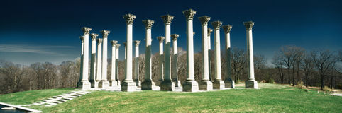 Digitally altered, high contrast image of the historic National Capitol Columns at the National Arboretum Stock Photo