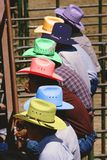 Digitally altered image of cowboys in colorful hats at a rodeo competition, Gallup, New Mexico Royalty Free Stock Photography