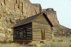 Digitally altered image of a wooden cabin from the Old West, Capitol Reef Park, UT Royalty Free Stock Photo