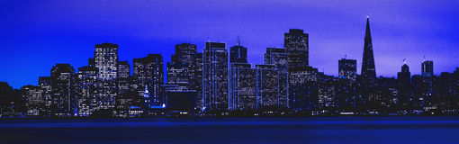 Digitally altered night view of San Francisco Stock Image