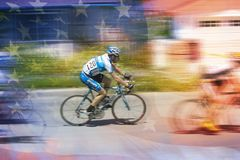 Digitally altered view of American flag and Lance Armstrong (#120) competing in Ojai, CA Stock Photo