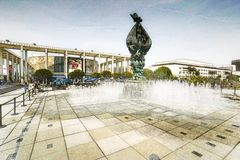 Digitally altered view of exterior view of water fountain on plaza in front of Dorothy Chandler Pavilion and Music Center in downt Royalty Free Stock Photos