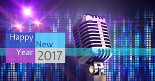 Digitally composite image 3D of 2017 new year greeting and microphone Stock Photos