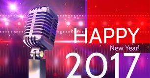 Digitally composite image 3D of 2017 new year greeting and microphone Royalty Free Stock Image