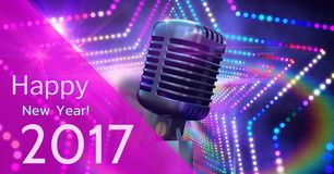 Digitally composite image 3D of 2017 new year greeting and microphone Stock Image