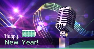 Digitally composite image 3D of 2017 new year greeting and microphone. Against disco lights Royalty Free Stock Photography