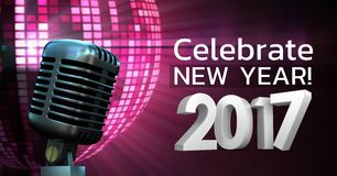 Digitally composite image of 3D 2017 new year message with microphone Royalty Free Stock Image