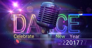 Digitally composite image 3D of 2017 new year and microphone Stock Photo