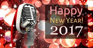 Digitally composite image 3D of 2017 new year and santa hat on microphone. Against bokeh lights Stock Photos