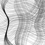 Wavy stripes randomly rotated, overlapping, in outlined, in monochrome black and white. Digitally created overlapping pattern, made up of outlined wavy stripes Stock Photo