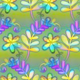 Watercolour Leaf Textile Print Pattern. A digitally created seamless textile design with flowers and branches Royalty Free Stock Images