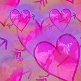 Pink watercolor love heart shapes. A digitally created seamless textile design with pink love hearts Stock Photos