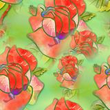 Watercolour Floral Rose Textile Pattern. A digitally created seamless textile design with watercolor roses Stock Image