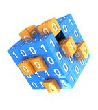 Digitally cube. With yellow small cubic and binary code on it Stock Photos