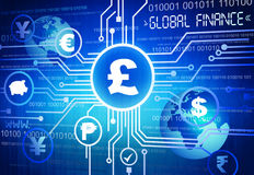 Digitally Different Global Currency Symbols Royalty Free Stock Photography