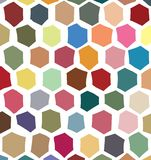 Digitally created, irregular hexagons based colorful pattern. Digitally enhanced, structured, grid like, hexagons based abstract surface, with irregular royalty free illustration