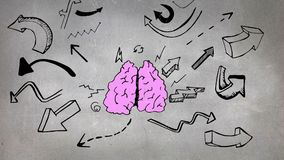 Sketch of brain and arrows royalty free illustration
