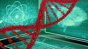 DNA double helix and digital screens