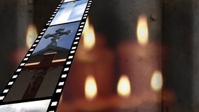 Film strip with different videos. Digitally generated animation of film strip showing different videos and background shows lighted candles stock illustration