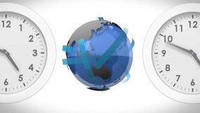 Globe between clocks stock illustration